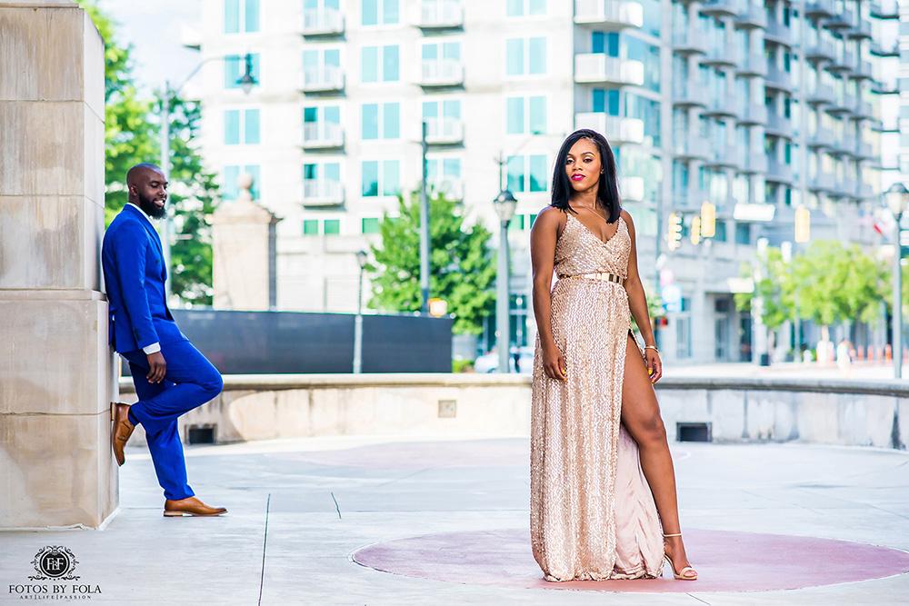 Atlanta Wedding Photographer | Fotos by Fola | Atlantic Station | Water Wall Downtown Atlanta